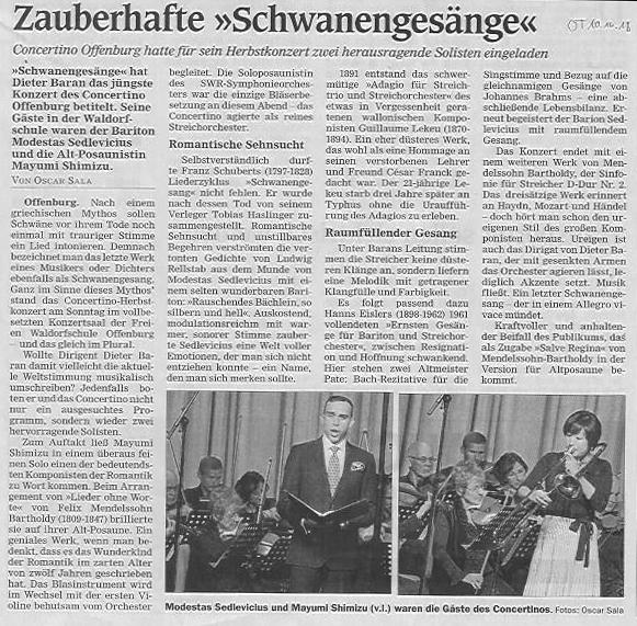Kritik Offenburger Tageblatt 10.10.18